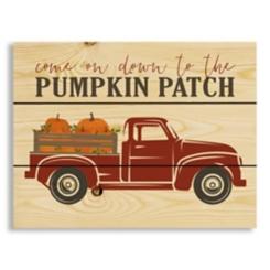 Red Truck Pumpkin Patch Wood Pallet Wall Plaque