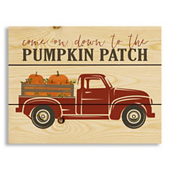 Red Truck Pumpkin Patch Wood Pallet Wall Plaque