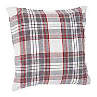 Gray and Red Plaid Chenille Pillow