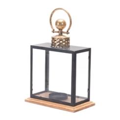 Gold and Black Rectangular Metal Lantern