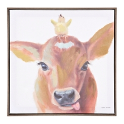 Cow and Chick Framed Canvas Art Print