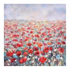 Poppy Field Hand Painted Canvas Art Print