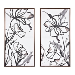 Blotted Floral Framed Art Prints, Set of 2