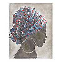 African Woman Profile in Blue Canvas Art Print