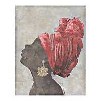 African Woman Profile in Red Canvas Art Print