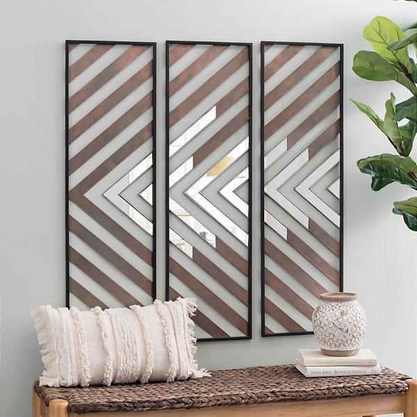 Chevron Wood Plank Mirror Wall Plaques, Set Of 3