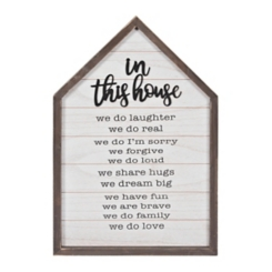 In This House Rules Wooden Plaque