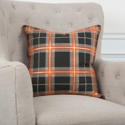 Black and Orange Plaid Halloween Pillow