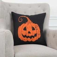 Orange and Black Halloween Pumpkin Pillow