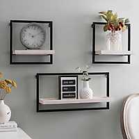 Metal and Wood Floating Wall Shelves