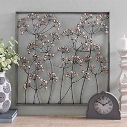 b0ae52b1d5d Wood Beaded Blooming Flower Metal Wall Plaque