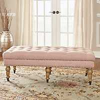Charlotte Tufted Pink Linen Bench