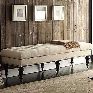 Large Charlotte Tufted Natural Linen Bench