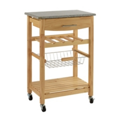 Griffin Natural with Granite Top Kitchen Cart