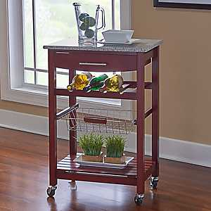 Griffin Brown with Granite Top Kitchen Cart