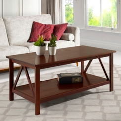 Charleston Antique Tobacco Coffee Table with Shelf