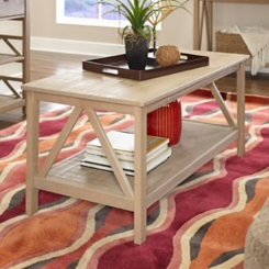 Charleston Rustic Gray Coffee Table with Shelf