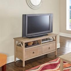 Open Shelf 2-Drawer Rustic Gray Media Stand