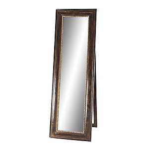 Dark Brown Wood and Metal Leaner Mirror with Easel