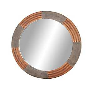 Round Rustic Ribbed Framed Mirror, 36 in.
