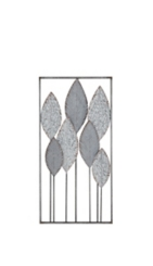 Gray Abstract Metal Leaf Wall Plaque