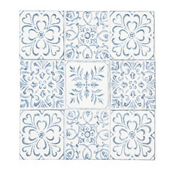 Blue and White Scrollwork Iron Plaque