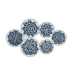 Blue and White Floral Disc Plaque