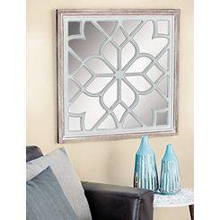 White Wood Lattice Overlay Mirror, 30x30 in.
