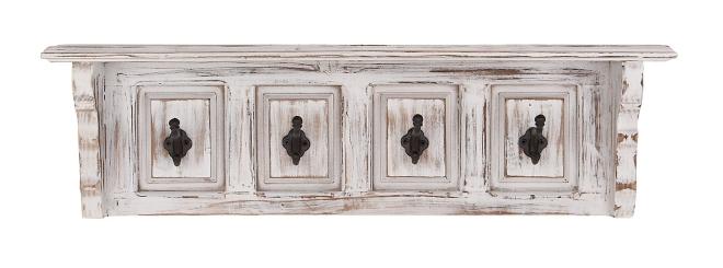 White Rustic Wood Shelf with Hooks