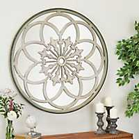 Round White Iron Fretwork Mirror, 40 in.