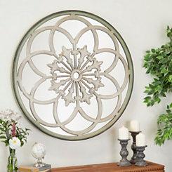 Round White Iron Fretwork Mirror, 40 in.