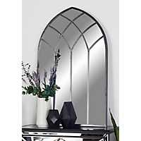 Arched Iron Mirror with Metallic Black Overlay