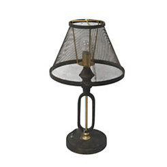 Rustic Table Lamp with Mesh Shade