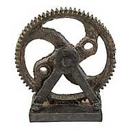 Rustic Gear Wheel Statue