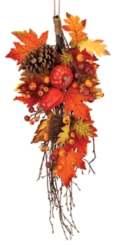 Pumpkin, Berry, and Leaf Teardrop Wreath