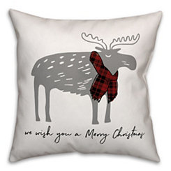 winter merry christmas moose pillow