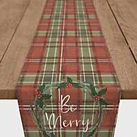 Red and Green Plaid Be Merry Table Runner