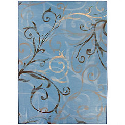 Blue Swirl 2-pc. Washable Area Rug, 5x7