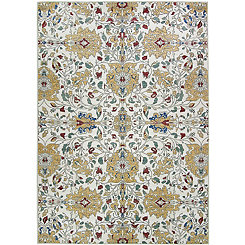 Cream Floral 2-pc. Washable Area Rug, 5x7