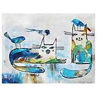 Talking the Talk Cat and Bird Canvas Art Print