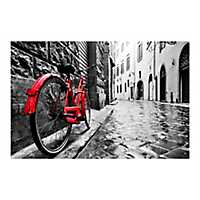 The Red Bike Tempered Glass Art Print