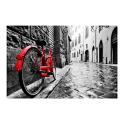 The Red Bike Tempered Glass Art Print