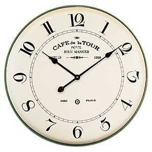 French Cafe Metal Wall Clock