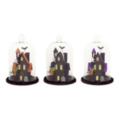 Halloween LED Haunted House Cloche, Set of 3