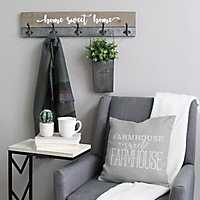 Rustic Home Sweet Home Wall Plaque with Hooks