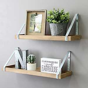Wood L-Shaped Shelves with Metal Frame