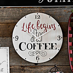 Life Begins After Coffee Wood Wall Clock