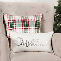 Ivory and Silver Christmas Accent Pillow
