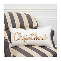 Ivory and Copper Christmas Accent Pillow