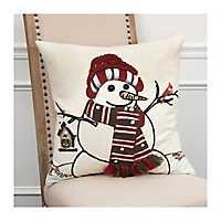 Brown Snowman with Bird House Christmas Pillow